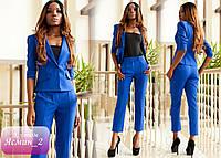 Деловой брючный костюм, короткий двубортный пиджак в комбинации с брюками длиной 7/8 РАЗНЫЕ ЦВЕТА!