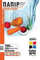 Фотобумага ColorWay матовая 190г/м, 10x15 PM190-100