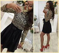 Нарядное женское платье верх вышивка золотом низ юбка клеш Размеры 42 44 46