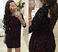 Нарядное короткое платье флок с напылением бархат Размеры 42 44 46