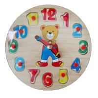 Дерев'яні вкладиші Годинник Ведмедик Р129