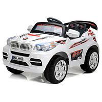 Детские электромобиль Джип BMW белый на радиоуправлении