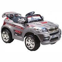 Детские электромобиль Джип BMW серебристый  на радиоуправлении