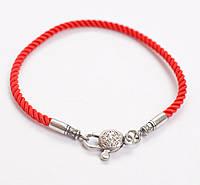 Красный браслет шёлк, серебро