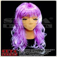 Парик с длинными вьющимися волосами лиловый