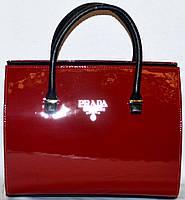 Сумка ,саквояж женская Prada(Прада)  красный лак  шикарная копия в наличии
