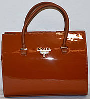 Сумка ,саквояж женская Prada(Прада) коричневый  лак шикарная копия в наличии