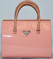 Сумка ,саквояж женская Prada(Прада) розовый,нежно розовый  лак шикарная копия в наличии