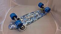 Пенни борд 22 Фиш Военный голубые колеса (penny board fish Blue military)