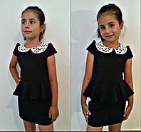 """Школьное детское платье для девочки """"Настя"""" с баской и кожаным воротничком (3 цвета)"""