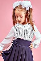 Детская школьная блузка для девочки №108 (молочный)