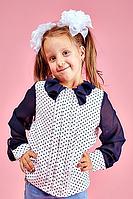 Детская школьная блузка для девочки №108 (бело-синий)