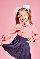 Детская школьная блузка для девочки №106  (розовый)