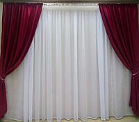 Готовые атласные шторы Бордо