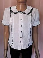 Блузка детская Белая школьная с черной окантовкой