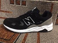 Мужские кроссовки New Balance 580 замша черные с серым на белой подошве