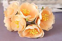 """Цветочки """"Марта"""" 3,5-4 см, 6 шт/уп. персикового цвета"""