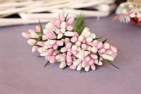"""Декоративные веточки """"сложные тычинки"""" схарные 10-12 шт/уп. бело-розового цвета"""