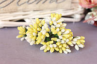 """Декоративные веточки """"сложные тычинки"""" сахарные 10-12 шт/уп. бело-желтого цвета"""