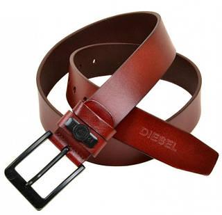 Мужской модный кожаный ремень V0036 red (красный) 4 см