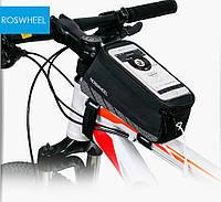 """Велосипедная сумка на раму под телефон 5.7"""" черная Roswheel 2016"""