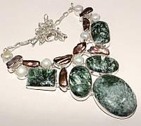 Колье из натуральных камней - СЕРАФИНИТ, ЖЕМЧУГ БИВА, ЖЕМЧУГ РЕЧНОЙ