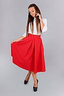 Романтическая красная юбка длина миди ( с боковыми карманами)