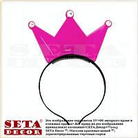 Малиновая корона со стразами на обруче светящаяся