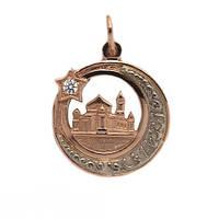Золотой мусульманский кулон подвеска Полумесяц со звездой и мечетью 6398