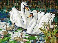 Лебединая семья. Dream Art. Набор алмазной живописи (квадратные, полная)