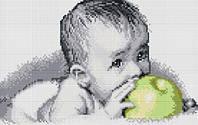 Вкуснятина(малыш с яблоком). Dream Art. Набор алмазной живописи (квадратные, полная)