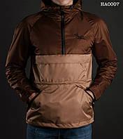 Весенне-осенняя куртка ( ветровка , анорак ) Staff - FLY brown with beige Art. HA0007 ( коричневый \ бежевый )