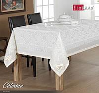 Скатерть  с гипюром   FINEZZA Caterina 170х230 белого цвета