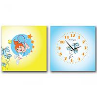 06-115 Часы настенные на холсте 2х секционные Теннисистка (28*28см 1 секция)