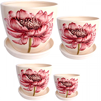 647-006 Набор цветочных горшков Розовый пион (4шт)