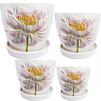 647-002 Набор цветочных горшков Белый пион (4шт)