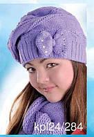 Комплект зимний: шапка с шарфом для девочки