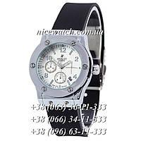Кварцевые часы Hublot женские черные каучуковые без стразов  серебряные с белым