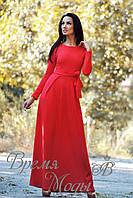 Платье длинное, стильное, тёплое, с карманами, осень-весна. /Красное/ 6 цветов