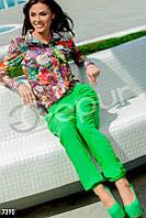Хлопковые зеленые брюки