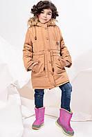 Пальто детское для девочки DT-8239 Светло-коричневый