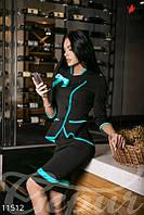 Черный деловой костюм с бирюзовой отделкой. Жакет + юбка.