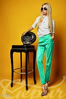 Бирюзовые тонкие брюки