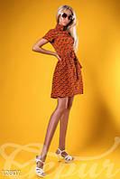 Оранжевое шелковое платье