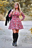 Платье короткое, приталенное, с карманчиками, осень-весна. (Цветочный принт, серо-красное) 6 цветов.
