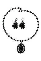Серьги и кулон  из натуральных камней с черным агатом