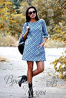 Платье мини с геометрическим узором и удобными карманами, осень-весна