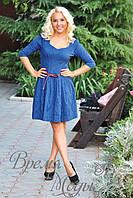 Короткое приталенное платье жаккард, с расклешенной юбкой. /Синее/ 2 цвета.