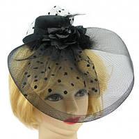 Шляпка с бутоньеркой и вуалью (черная)