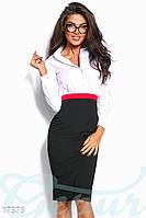 Стильное деловое платье. Красная и черная юбка.